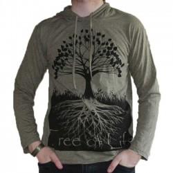 T-Shirt Coton manche longue capuche Arbre de vie Kaki