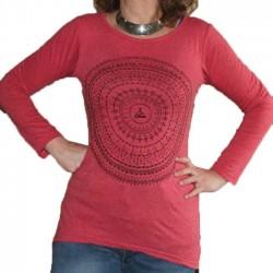 T-Shirt Femme Coton Taille S/M Mandala Rose