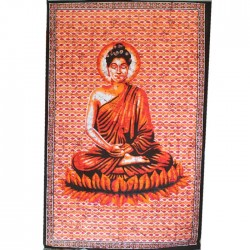 Tenture indienne Bouddha Orange