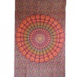 Tenture Mandala Coton Inde Orange