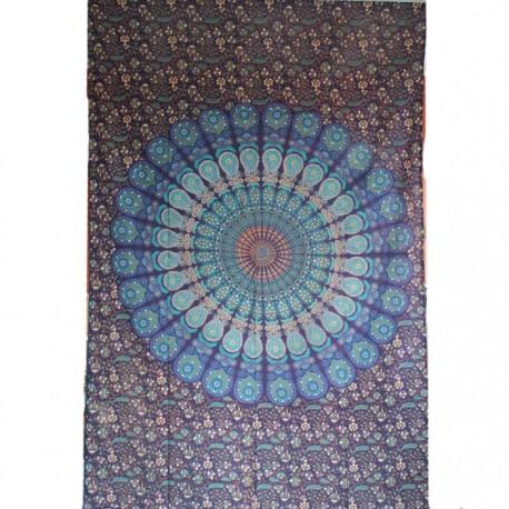 Tenture Mandala Coton Inde Turquoise