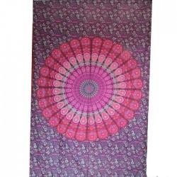 Tenture Mandala Coton Inde Fushia