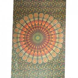Tenture Mandala Coton Inde Vert