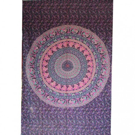 Tenture Mandala Eléphants Violet