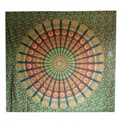 Tenture Mandala Coton Indien Vert