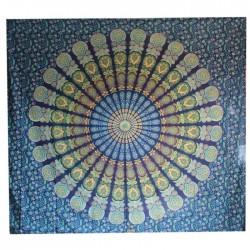 Tenture indienne Mandala Bleu