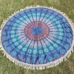 Tenture indienne ronde Bleu