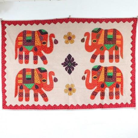 broderie 4 éléphants Inde