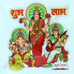 Autocollant Indien Laxmi, Ganesh, Saraswati