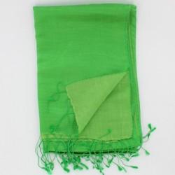 echarpe soie et laine verte