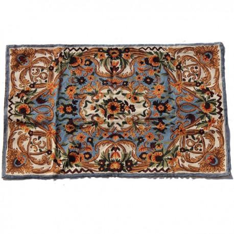 tapis laine brodé indien