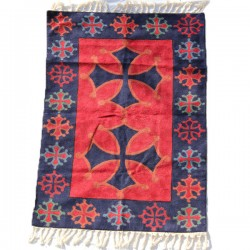 Tapis Indien artisanal en laine Croix Occitane